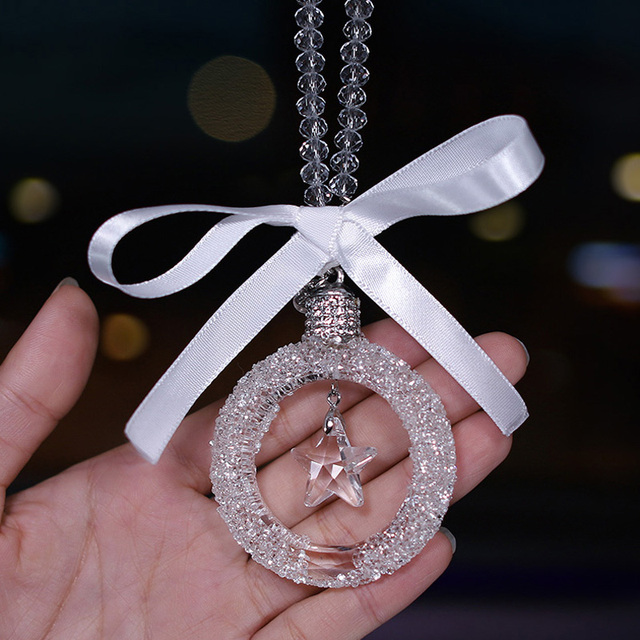 High Quality Car Accessories for Girls Amulet Heart Crystal Ornaments Rearview Mirror Hanging Car Pendant Interior Ornament