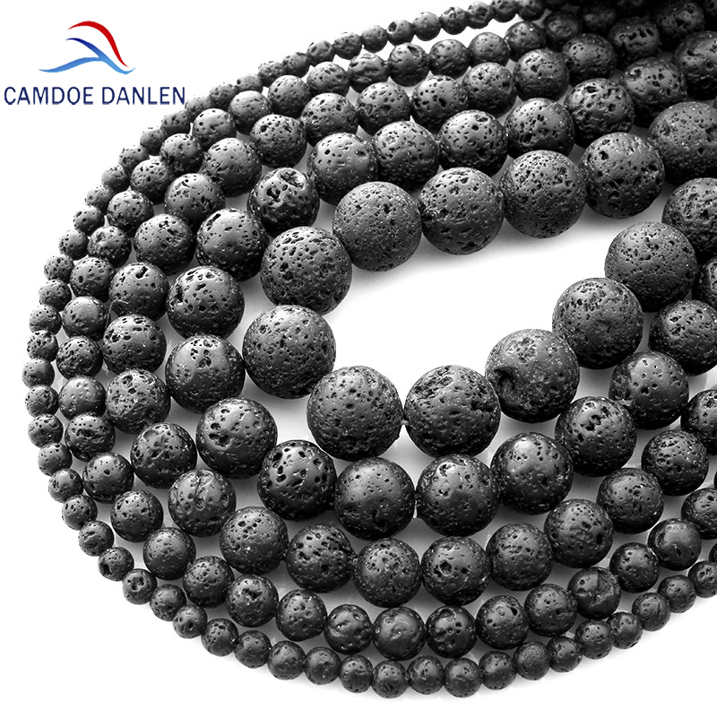Natural Stone Black Lava Volcanic Stone Loose Beads  4 6 8 10 12 14 16 18MM Fit Diy Charm Beads For Jewelry Making Accessories
