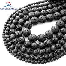 Pedra natural pedra vulcânica, pedra natural preta vulcânica com miçangas soltas 4 6 8 10 12 14 16 18mm fit diy charme contas para fazer jóias acessórios