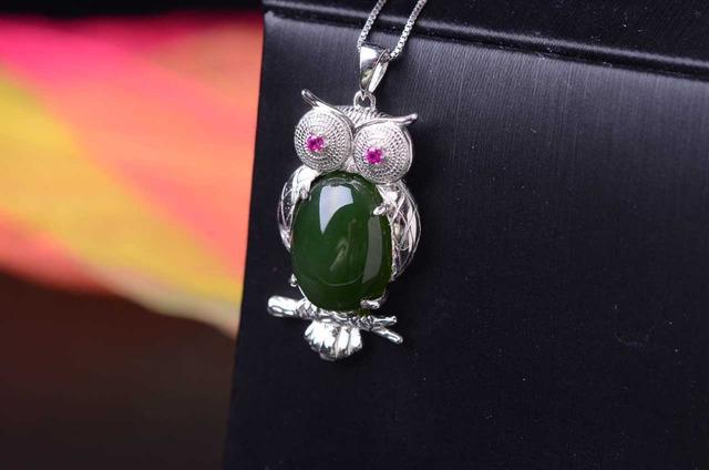 Jaspe verde natural colgante s925 Naturales jade Colgante de la Personalidad de moda gran búho mujeres joyería Del partido del Niño