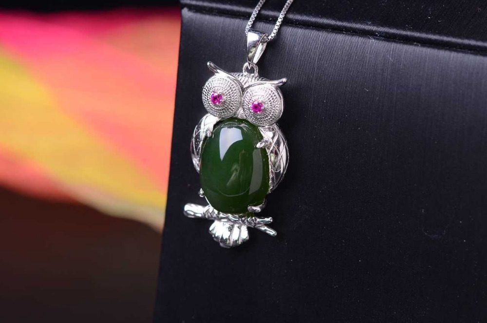 natural green jasper pendant S925 silver Natural jade Pendant Necklace trendy Personality big owl women Child party jewelry цены онлайн