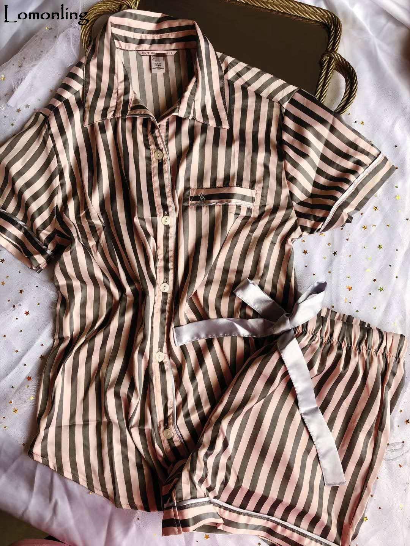 Lomonling 2018 d'été vs secret maison original unique à manches courtes rayé pyjamas accueil costumes