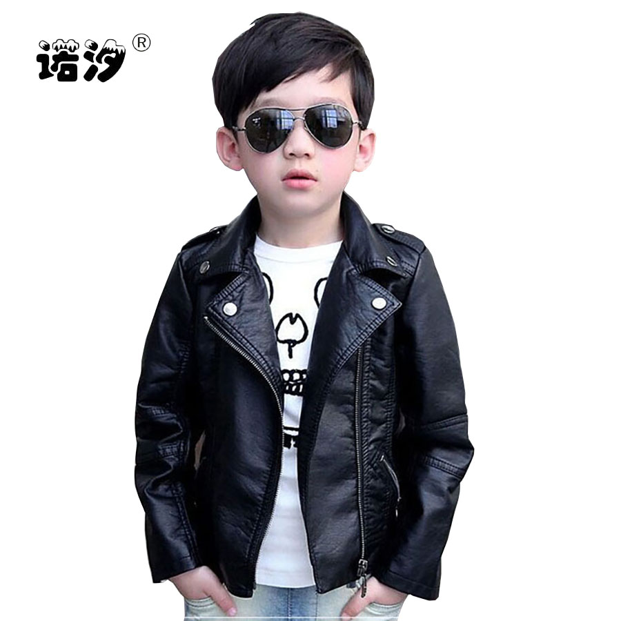 Childrens clothing boys spring autumn PU leather jacket male female child leather clothing outerwear child leather jacket 3-11Y