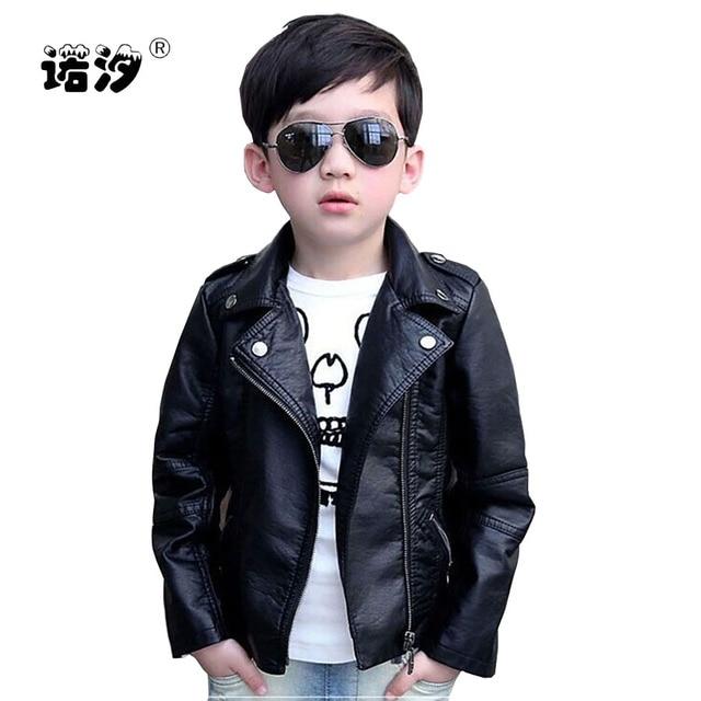 73e00377f45 Meninos de roupas infantis primavera outono PU jaqueta de couro roupas de  couro outerwear jaqueta de