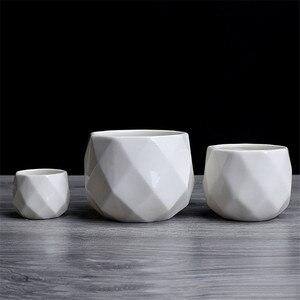 Image 5 - Креативный керамический Алмазный геометрический цветочный горшок, простой суккулентный контейнер для растений, зеленые плантаторы, маленькие горшки для бонсай, украшение для дома