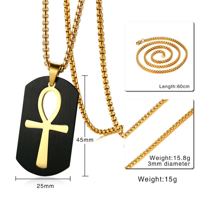 Vnox Removable Ankh Cross Necklace for Men Gold Tone Stainless Steel Cut Out Crux Ansata Key To Life Egypt Pendant Box Chain 24""