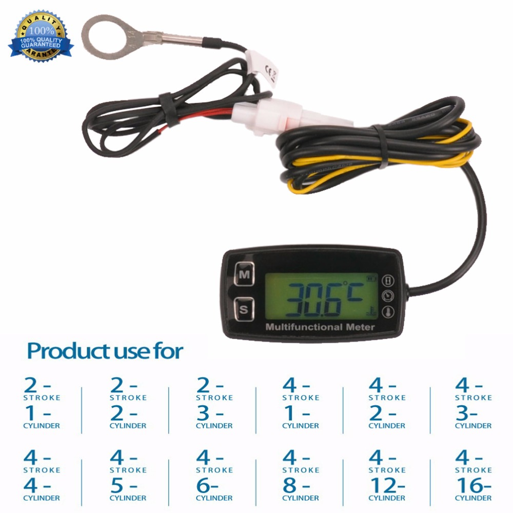 цена на Digital Tach Hour Meter Theomometer Temp Meter for Gas engine motorcycle marine jet ski buggy tractor pit bike paramotor 035T