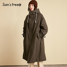 Samtree 26.1% Wool Coat Winter Hooded Women Long Coat Elasti