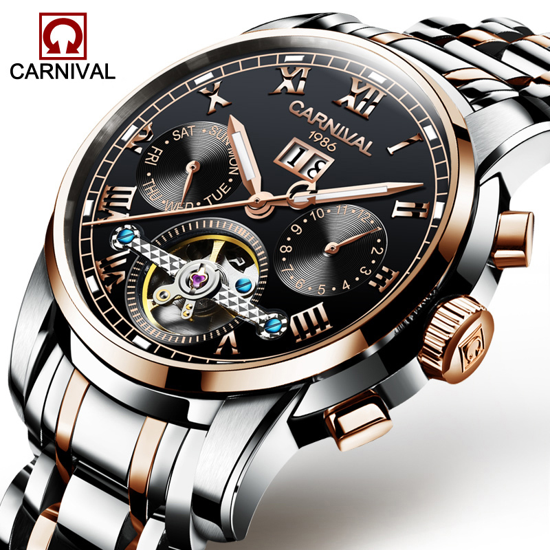 Men Watches Automatic Mechanical Watch Tourbillon Sport Clock Stainless Steel Casual Luminous Business Wristwatch Relojes Hombre forsining golden stainless steel sport watch steampunk men watch luminous openwork mechanical watches folding clasp with safety