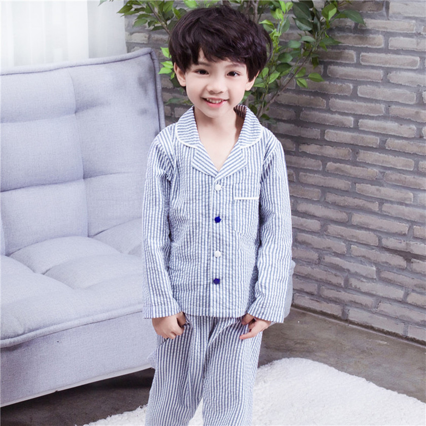 купить Autumn 2018 New Style homewear baby boys girls blue striped pajamas sets children nightwear pajamas kids sleepwear White S86515A по цене 1269.72 рублей