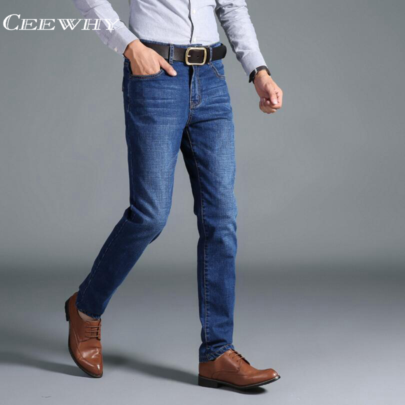 CEEWHY Men Jeans Business Casual Thin Summer Straight Slim Fit Blue Jeans Stretch Denim Pants Trousers Classic Cowboys Young Man fongimic new men clothing summer thin casual jeans mid waist slim long trousers straight high quality men s business denim jeans
