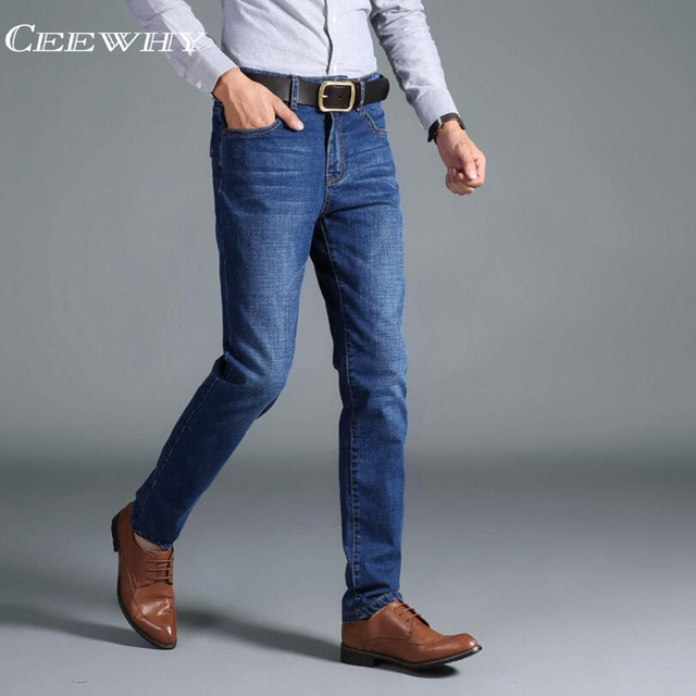 a81d155113 CEEWHY Men Jeans Business Casual Thin Summer Straight Slim Fit Blue Jeans  Stretch Denim Pants Trousers Classic Cowboys Young Man