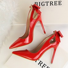 BIGTREE New Autumn Spring Elegant Pumps Sexy High-heeled Shoes Bow Patant Leather Thin High Heels Shallow Pointed Hollow Shoes