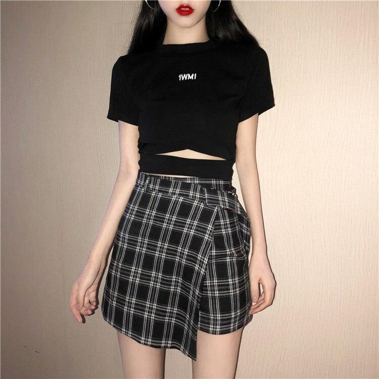 082d8119ac Comprar 2018 verano mujeres falda Plaid A Line alta cintura Casual moda  Kawaii estudiante faldas Whit Shorts Online Baratos