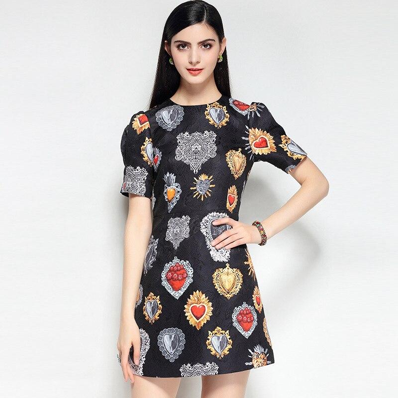Mini Robe Parti Moda Noir Courtes Designer Piste 2018 Befree Femmes Nouvelle D'été Manches Imprimer Vintage qUvwt1FnU