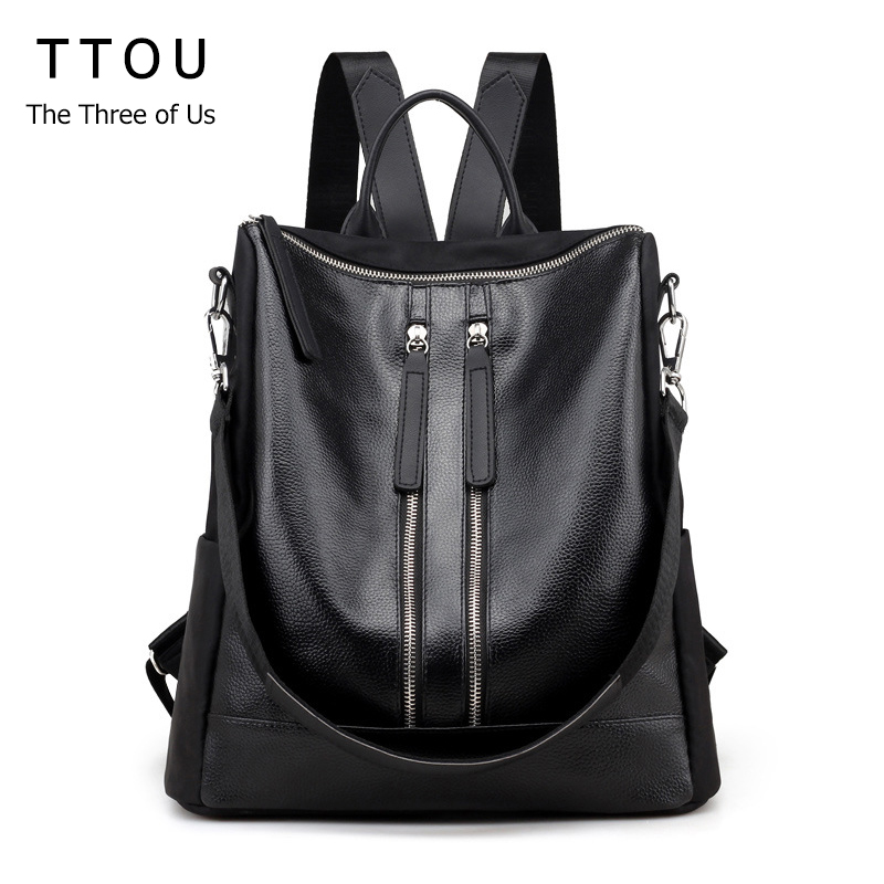 TTOU 2017 Women Fashion Black Pu Leather Backpack High Quality Bags Rock Style Backpack School Bag for Teenager Travel Bags