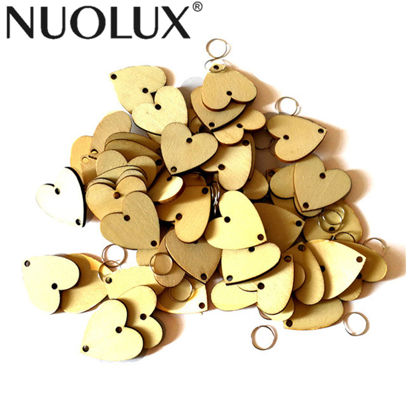 50pcs Heart Wooden Slices DIY Calendar Accessories With 50 Iron Loops For Birthday Reminder Hanging Plaque Board Home Decoration