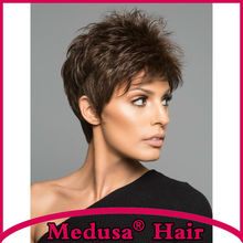 Medusa hair products: Synthetic Lace front wigs for women Short pixie cut styles straight Dark brown wig with bangs SW0266H