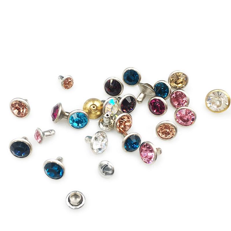 Colto 100 Set Di 6/8 Millimetri Cristalli Di Strass Rivetti Borchie Di Diamante Per Lavorazione Della Pelle Fai Da Te Rivetti Per La Pelle