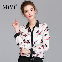 100% Real Silk Shirt 2017 Newest Bird Printed Fashion Women Shirts Long Sleeve SILK Blusas Plus Size Lady OFFICE Blouse Shirt