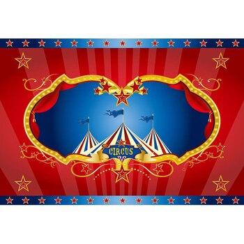 Telón de fondo para fotomatón de fiesta de cumpleaños de circo, cortinas rojas impresas, carpas de estrellas, accesorios reales para Baby Shower, Fondo para niños y chicos
