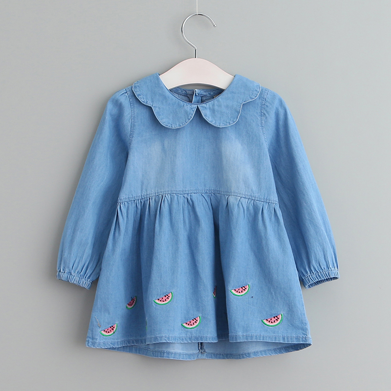 Sodawn 2017 Long Sleeve Denim Girls Dress Baby Clothes Fashion Design Children Clothing Princess Party Vestido 3-8 Years