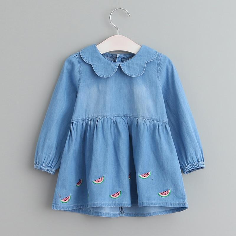 Sodawn 2017 Long Sleeve Denim Girls Dress Baby Clothes Fashion Design Children Clothing Princess Party Vestido 3-8 Years