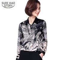 Printed Shirt Female Long Sleeves 2018 Spring New Women Shirt Black Print Chiffon Blouse Elegant Office
