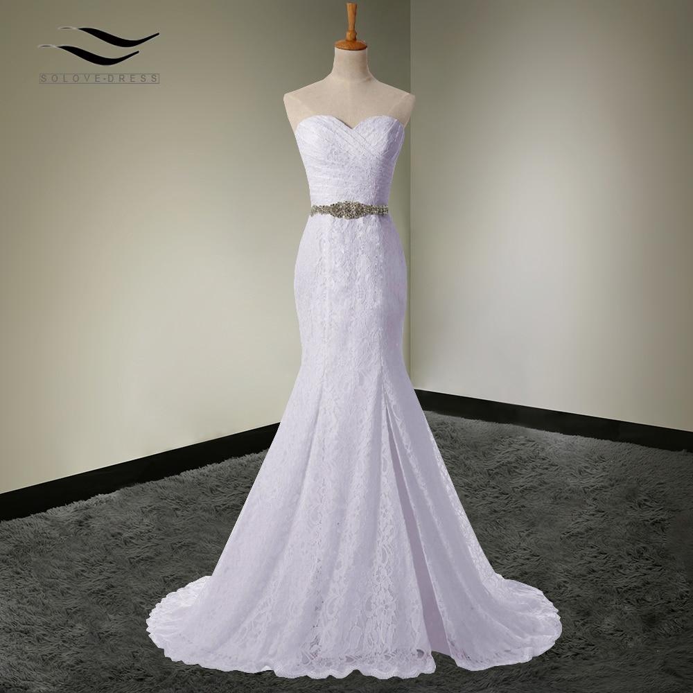 Solovedress Elegant Bridal Gown Real Photos Cheap Mermaid Sexy Side Slit Wedding Dress Lace 2018 Vestido De Noiva 2018 SLD-W0011