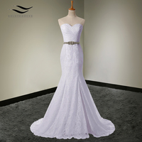Solovedress Elegant Bridal Gown Real Photos Cheap Mermaid Sexy Side Slit Wedding Dress Lace 2017 Vestido