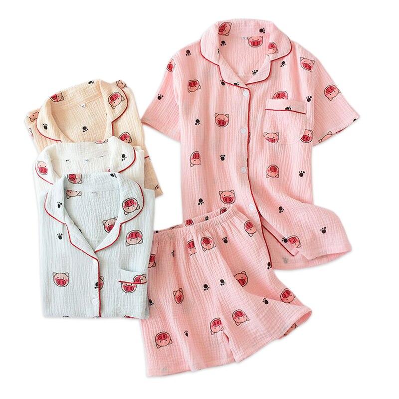 100% crape cotton sweet pig sleepwear women shorts   pajama     sets   Japanese casual short sleeves Korea Cute freshly women homewear