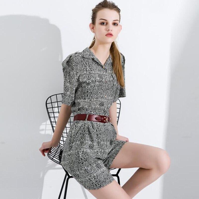 Pure Silk Sets Women Summer Black Print Silk Pants Short High Quality Casual Elegant Office Lady Set Female