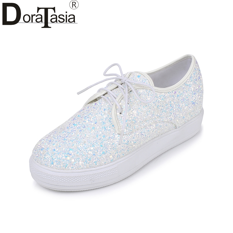DoraTasia 2018 Spring Autumn Plus Size 30-44 Sweet Glitter Platform Shoes Woman Lace Up Casual Height Increasing Women Shoes free shipping spring autumn women s flatform casual all match board shoes height increasing shoes