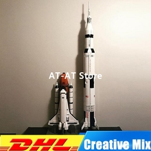 LEPIN 37003 A Apollo Saturno V Lançamento Veículo Set + 16014 1230 pcs Space Shuttle Expedition Model Building Kits Set clone 21309