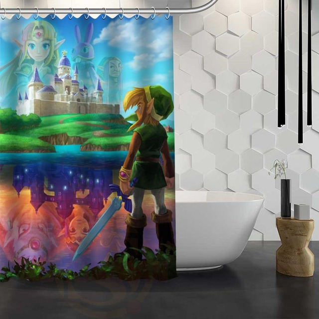Custom The Legend Of Zelda Shower Curtain Waterproof Fabric For Bathroom WJY117