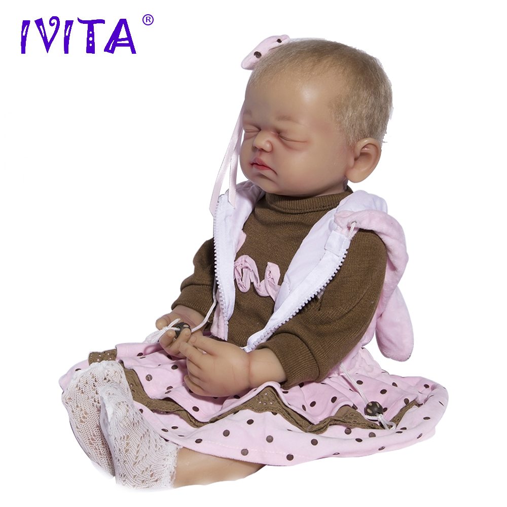 IVITA 21.7 Inches Silicone Reborn Babies Realistic Metal Skeleton Closed Eyes Silicone Doll Reborn Dolls Root Hair Baby Dolls недорого