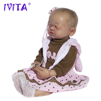 IVITA 21.7 Inches Silicone Reborn Babies Realistic Metal Skeleton Closed Eyes Silicone Doll Reborn Dolls Root Hair Baby Dolls