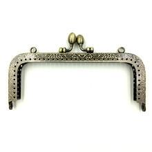 3Pcs Fashion Bronze Tone DIY Clutch Metal Rectangle Frame Kiss Clasps Fermoir Lock Handbag Handle 15.5x9cm