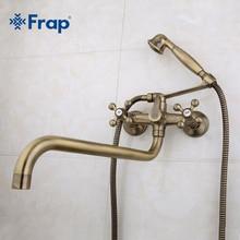 Античная латунь бронза душ голову и руку душ ванная комната двойной ручкой двойной отверстие смеситель для душа с 36 см нос F2619-4