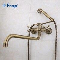 Frap Antique brass bronze shower set head and hand shower bathroom double handle dual hole shower faucet with 36cm nose F2619 4