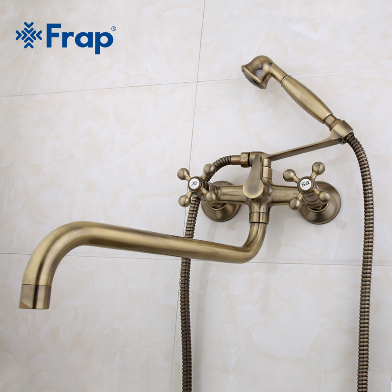 Frap Antique brass bronze shower set head and hand shower bathroom double handle dual hole shower faucet with 36cm nose F2619-4