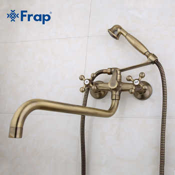 Frap Antique brass bronze shower set head and hand shower bathroom double handle dual hole shower faucet with 36cm nose F2619-4 - DISCOUNT ITEM  50% OFF All Category