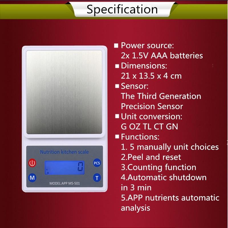 5kg 1g electronic app kitchen scale smart digital nutritional