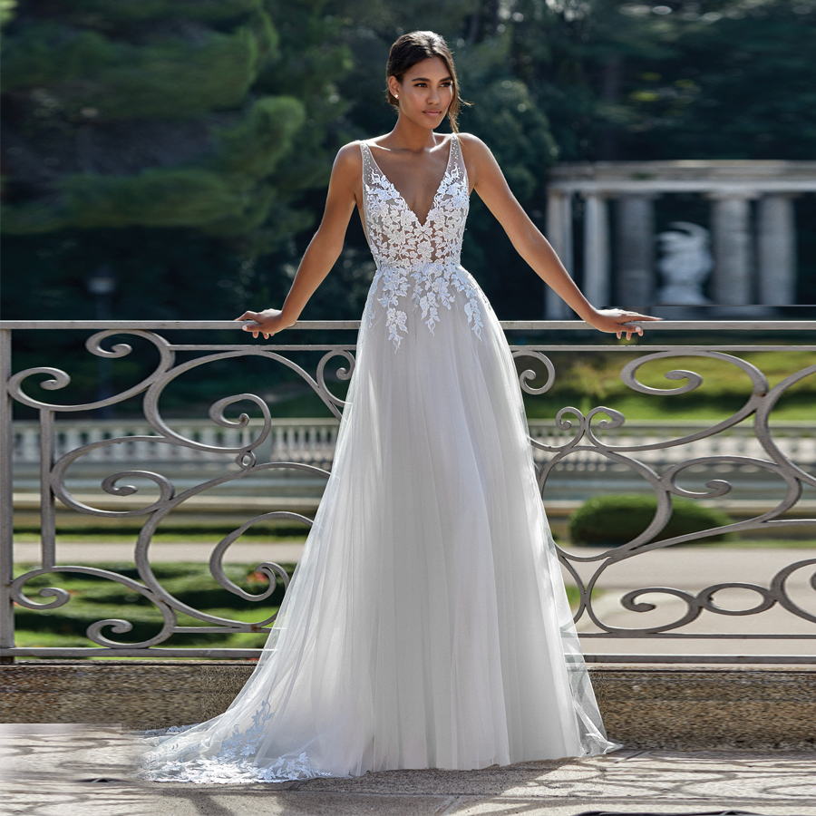 Deep V-Neckline Lace Bodice with Tulle A-Line Skirt See Through Grey Wedding Dress Cutout Side Elegant Bridal Dress Sweep Train