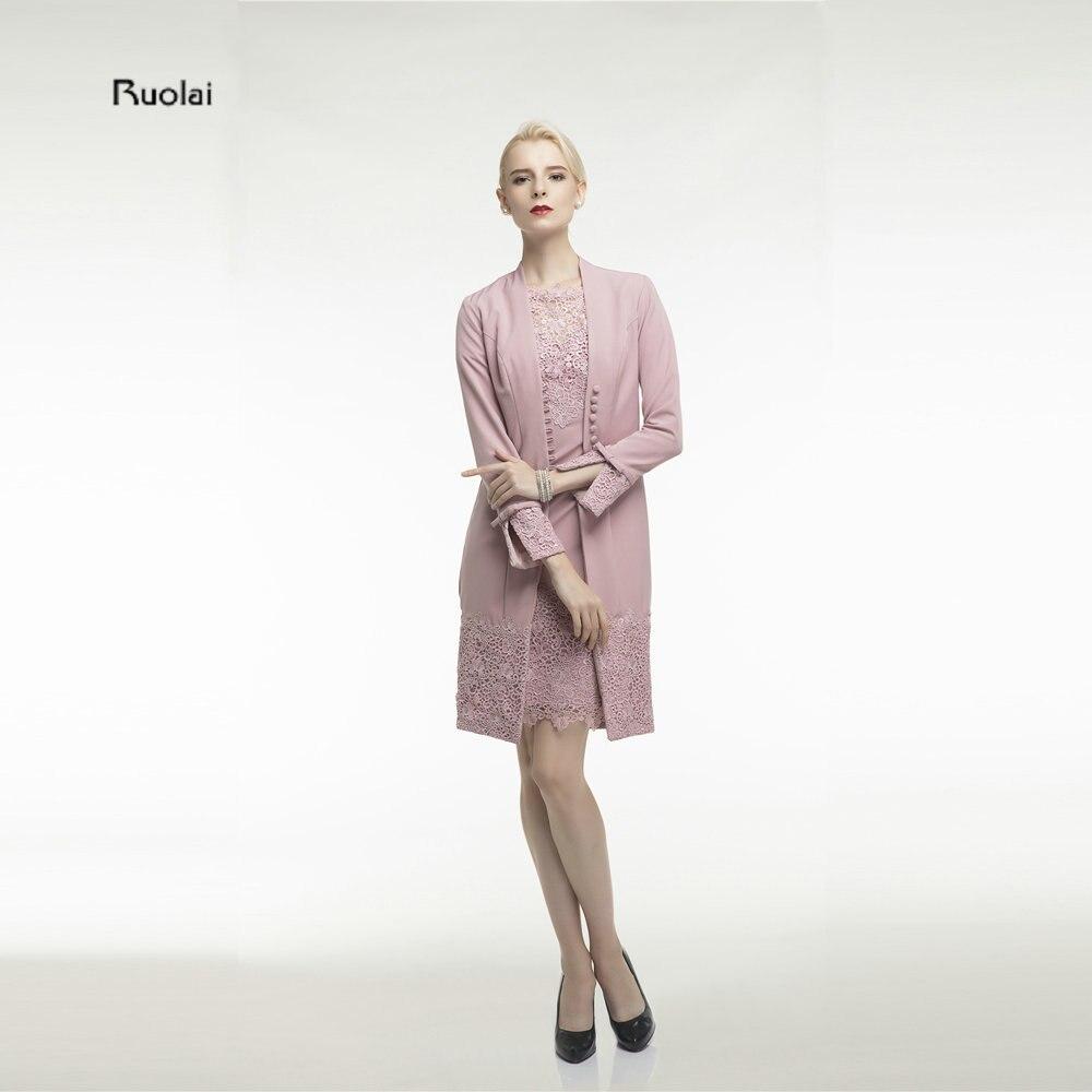 rosa spitze knielange zwei stücke mutter der braut kleider mit jacke nach  maß formales kleid für hochzeit