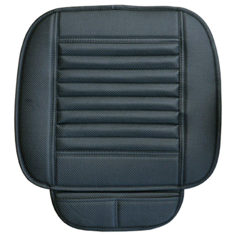Car Bamboo Charcoal Leather Seat Cushion Breathable Therapy Chair Cover Pad, Black