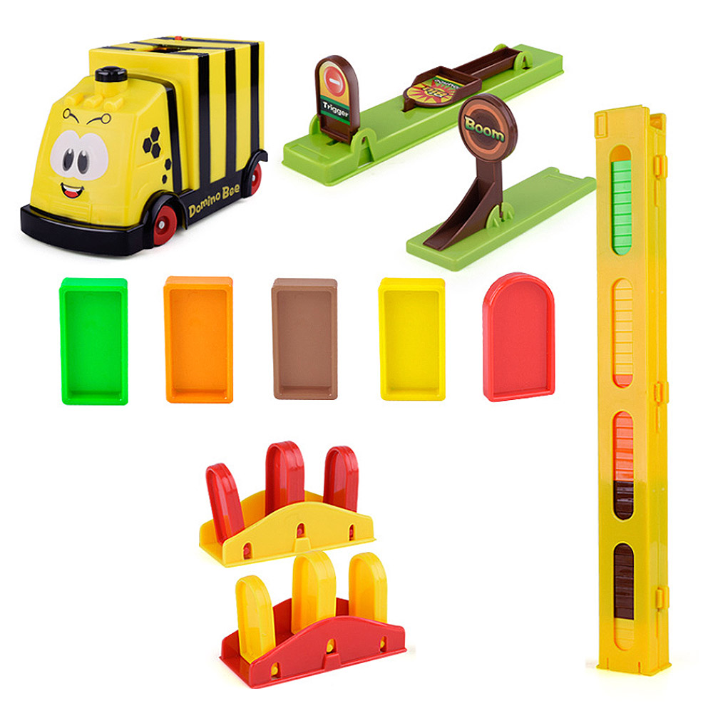 Baby Onderwijs Bouwstenen Speelgoed Auto Set Treinen Automatische Domino Baksteen Leggen Speelgoed Geluid Licht Lift Springplank