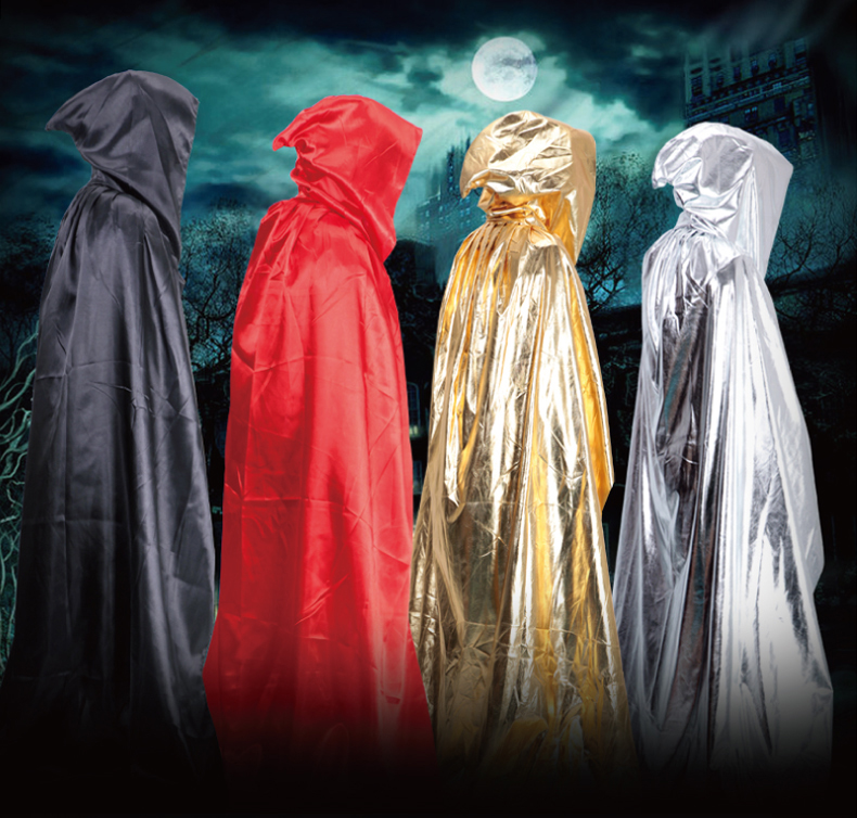 Bright Hooded Halloween Costumes For Men Women 2016 Halloween Festival Latest Party Performance Witches Halloween Cloak Cape