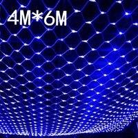 עמיד למים 4 m * 6 m נטו רשתות רשת אורות led נקי אורות פיות led חג המולד פיות אורות גן בחוץ חג החתונה שנה החדשה
