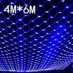 Red led impermeable de 4m * 6 m, luces de red led de Navidad, luces de hadas, redes de malla, luces de hadas, jardín al aire libre, Año Nuevo, vacaciones de boda
